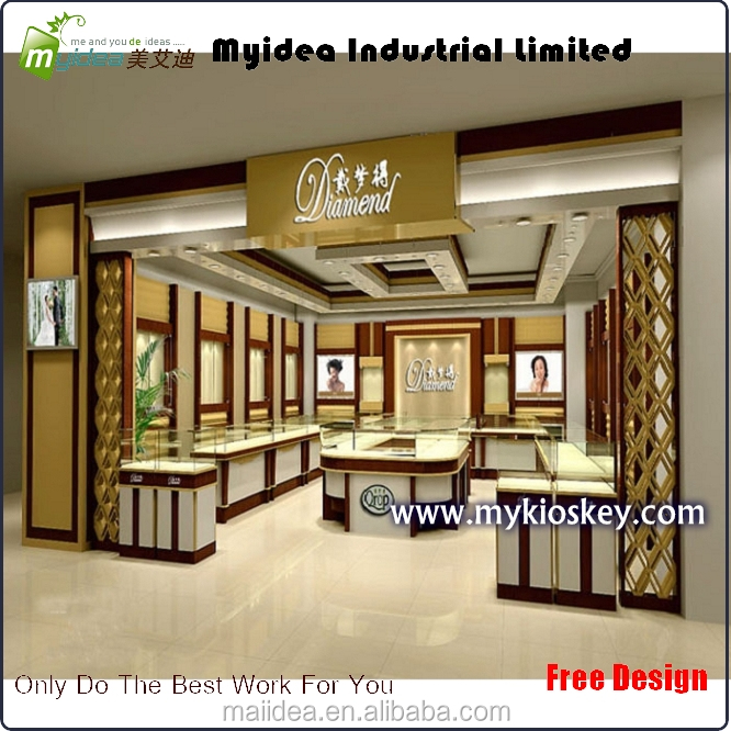 Custom made modern jewellery store layout interior design with lighting decorated