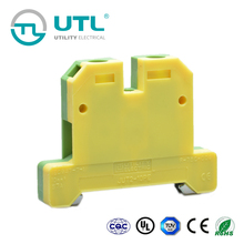 10mm Thickness 40.3mm Width 57A 20-6AWG Yellow/Green Ground Din-rail Terminal
