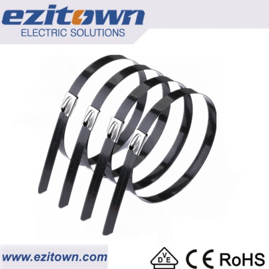 BZ-C ss cable ties pvc coating flame proof durable electrical wire strap plastic pvc coated stainless steel cable ties