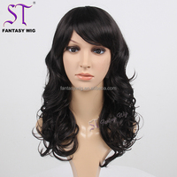 "Fantasywig Wig Wholesale Real Looking 18"" Long Black Natural Curly Indian Women Heat Resistant Synthetic Hair Wig For Women"