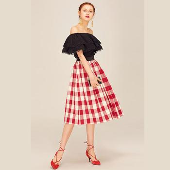 en venta 0152c ece17 Últimas Señoras Del Diseño Rojo Plaid Flared Falda Vintage Mujeres Faldas  Midi Sueltas - Buy Red Plaid Falda,Mujeres Faldas,Vintage Faldas Sueltas ...
