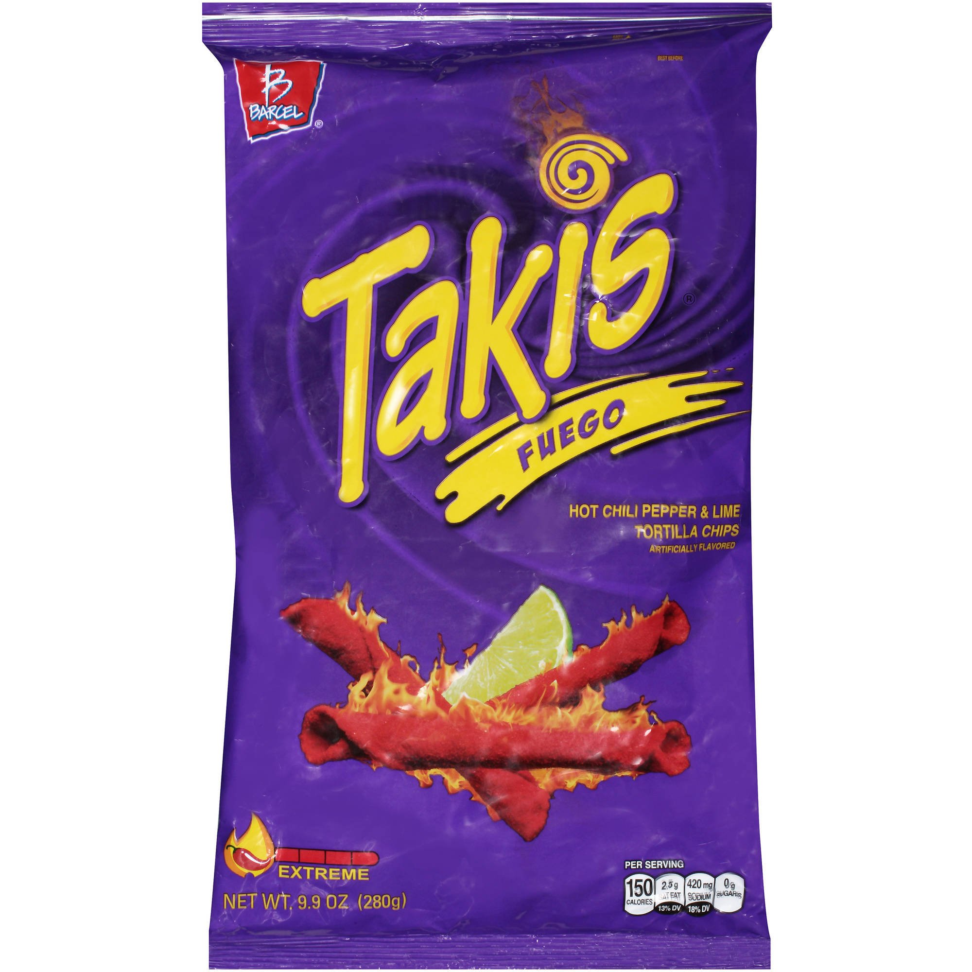 Get Quotations Takis Fuego Hot Chili Pepper Lime Tortilla Chips 9 Ounce Bag 1