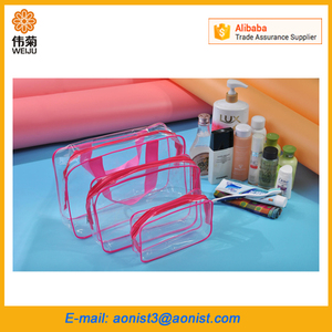 New Clear PVC Transparent Packing Cosmetic Tote Bag Sets with zipper