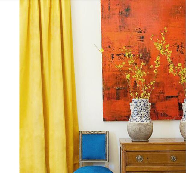 Modern minimalist Scandinavian style solid color short-grade matte velvet curtains custom living room study 16 colors