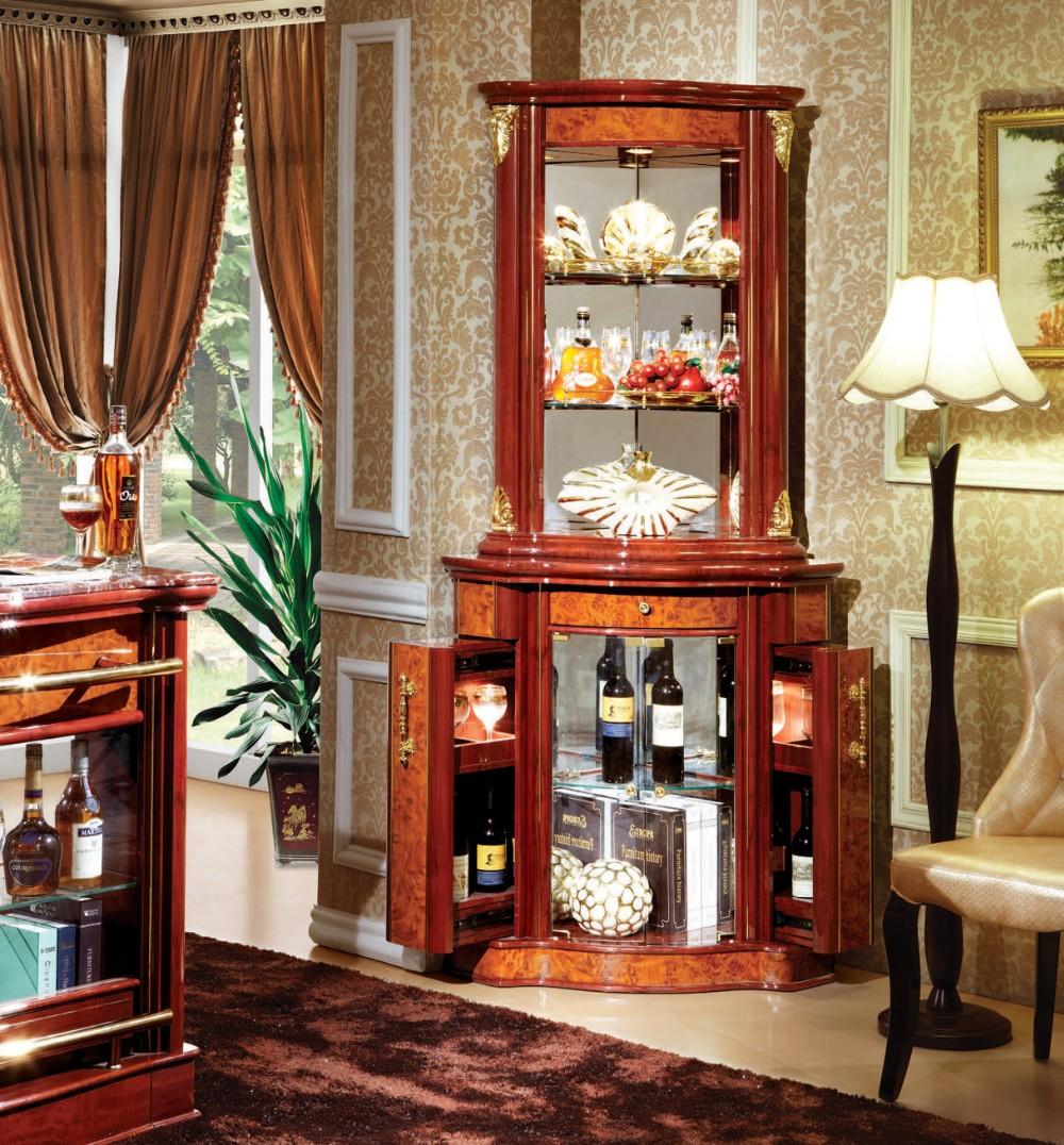 Home furniture china glass corner vitrine cabinet for for Home bar furniture china