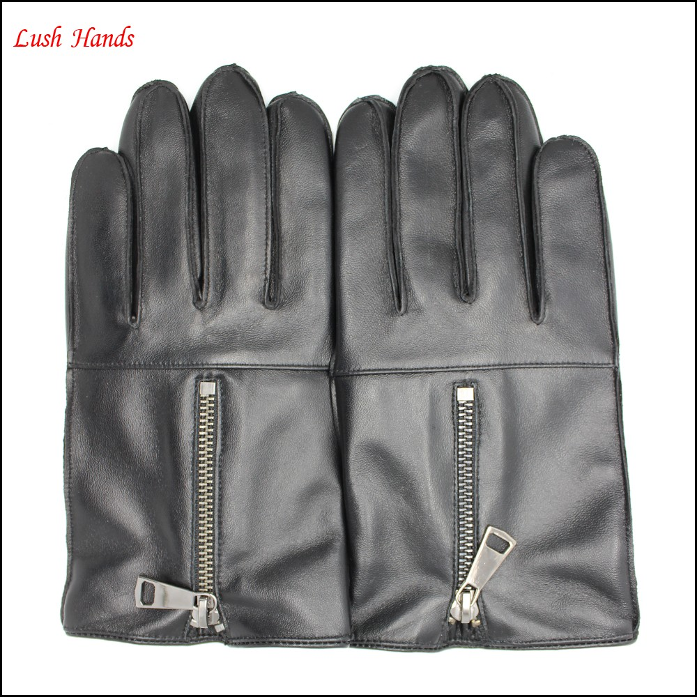 men winter black sheepskin leather gloves with zipper