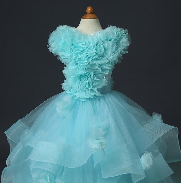 NX1645 Handmade Flowers Top with Tulle Skirt Expensive Party Princess Dress Flower Girl dresses 2016