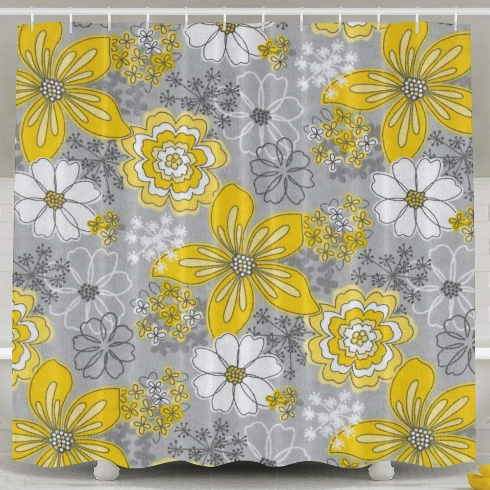 Get Quotations ZHYPMNU 60 X 72 Inch Shower CurtainGray Yellow Floral Print Polyester Waterproof Bath Curtain