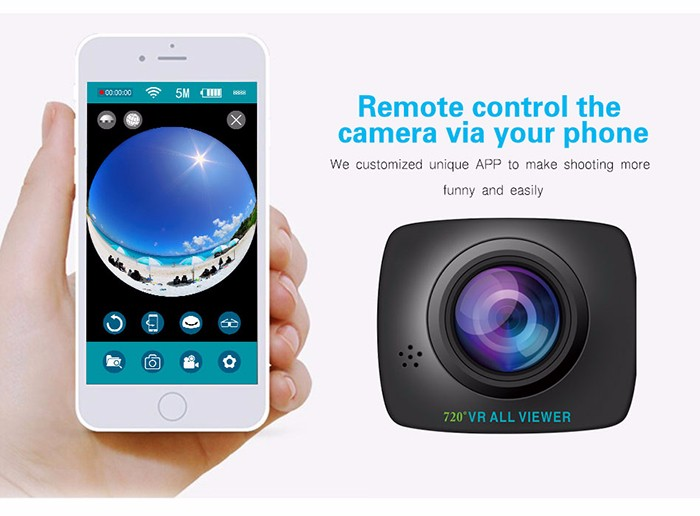 Mobile phone remote control HD Sports Action Panoramic Video 360 Degree Camera