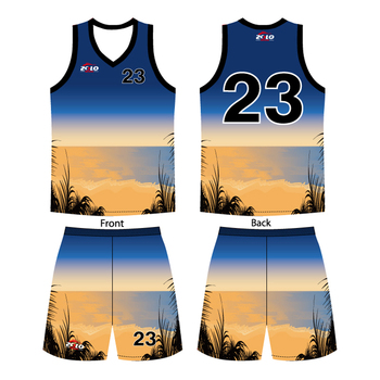 2017 new style female collar generic basketball jersey uniform design color blue