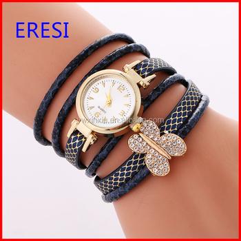 Stocks Ing Fashion Lady Watch Handmade Leather Wrap Bracelet With Erfly Charm Promotion