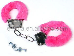 Newest Design Pink Colors Plush Adult Sex Toy Handcuff With Key HK14383
