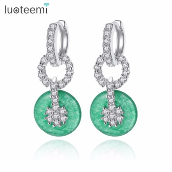 LUOTEEMI Designable Fashion Brand Jewelry Imitation Green Jade Circle Pendant Drop Earrings For Women Party Jewelry Accessories