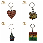 Fashion custom made souvenir gifts pvc keychain with metal ring cute 3d rubber keychain