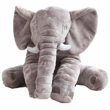 hot sale grey color big plush baby soft support elephant cushion