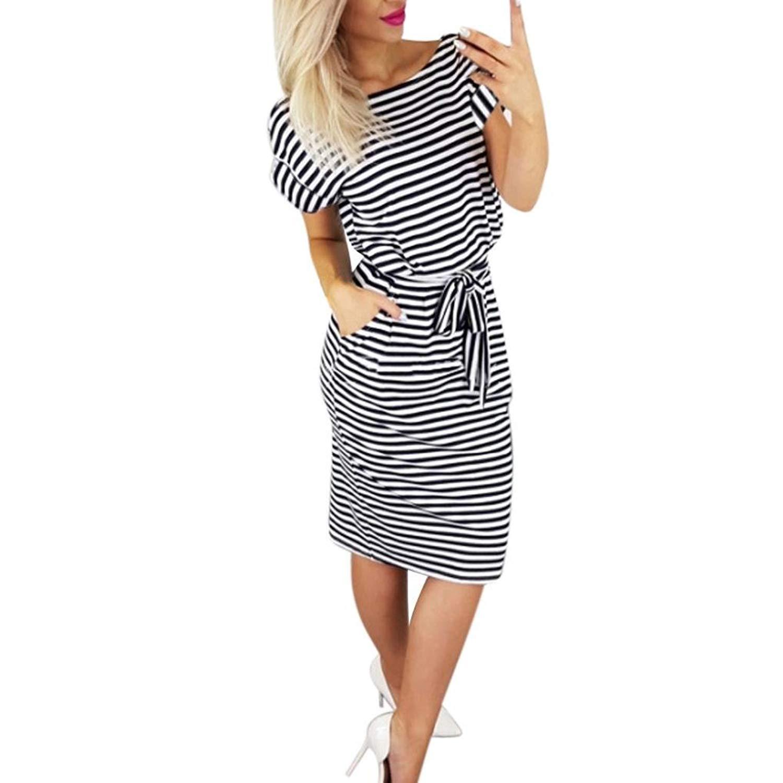 Get Quotations · Gyoume Dress Women Strip Dress Short Sleeve Dress Tie  Waist Beach Dress Pocket Dress