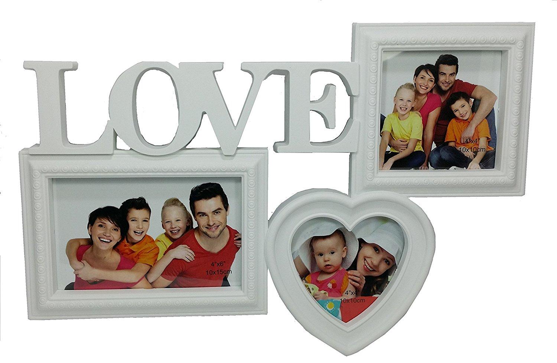 Buy Photo Frame collage 3 Photo White Photo Frame LOVE Decorative 3D ...