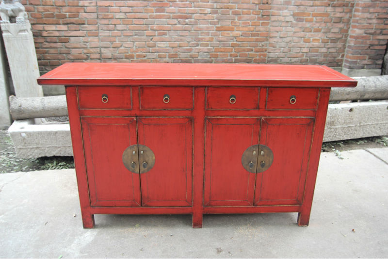 Solid reclaimed wood living room cabinet red sideboard - Solid Reclaimed Wood Living Room Cabinet Red Sideboard - Buy