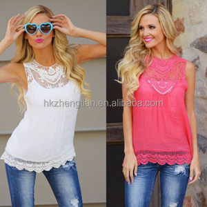 walson 2016 Summer Womens Loose Casual Chiffon Sleeveless Lace Shirt Tops apparel Blouse Ladies Tops