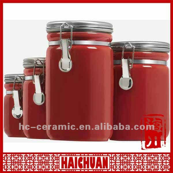 Ceramic Red Tea Coffee Sugar Canister Kitchen Product On Alibaba