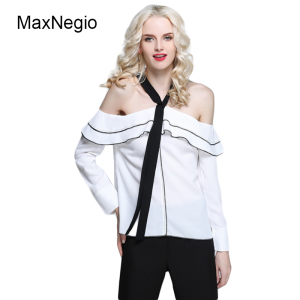 95dfcc8368c76 Maxnegio 2018 Neck Design Off Shoulder White Long Sleeve 100%Polyester  Ladies  Blouses