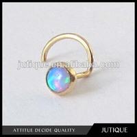 Opal in 14k Gold Nose Stud body piercing jewelry
