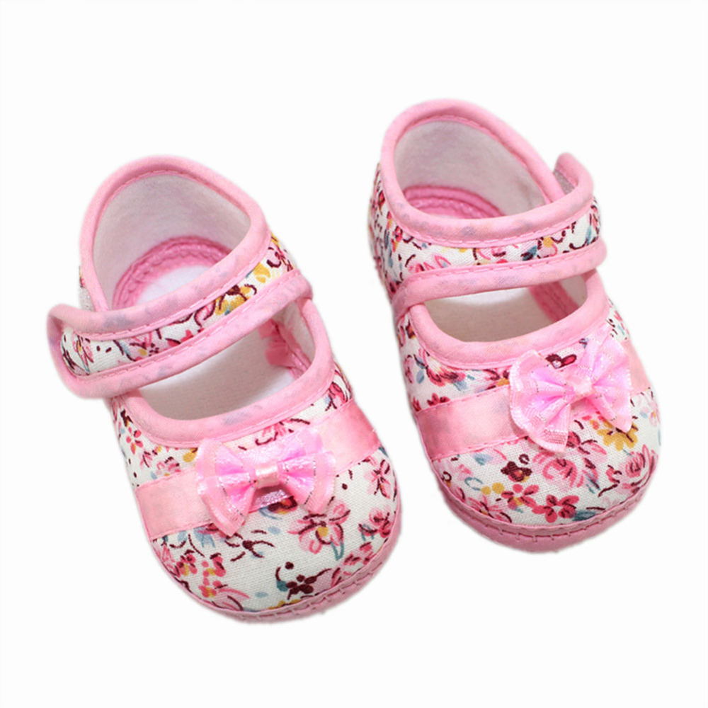Baby Girls First Walkers Shoes Flowers Bow Toddler Newborn Baby Soft Sole Shoes For 3 12