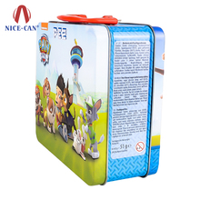 Hot sale metal tin lunch box toy packaging tin box with plastic handle