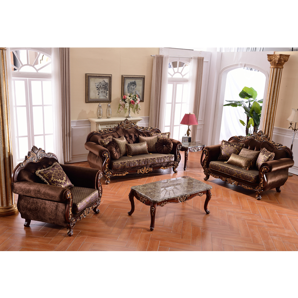 S2910 china foshan shunde furniture luxury solid wood frame arabia style living room classic fabric sofa