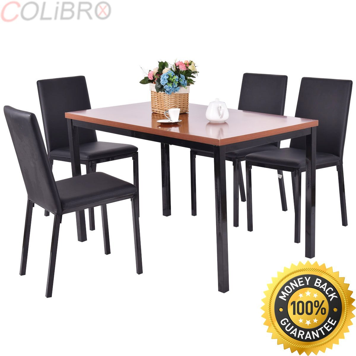 a5d511497b67 Get Quotations · COLIBROX--5 PCS Dining Table Set 4 PU Leather Chairs Home  Kitchen Breakfast Furniture