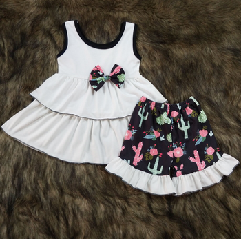 baby girls wholesale boutique clothing kinds of pattern shirt match icing ruffled short pants kids ' outfits set