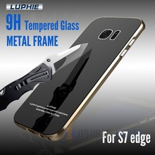 Luphie Aircraft Aluminum Metal Frame + 9H Tempered Glass bumper Case For Samsung Galaxy S7 edge S7edge AL-025