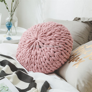 Christmas Home Decoration Hand Knitting Thick Round Throw Pillows