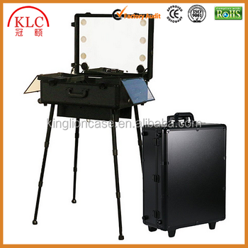 custom-made Pull Large Cosmetic Box LED Light Mirror Professional Makeup Studio Makeup Box Light