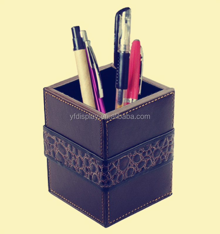 Office Supplier Rectangle Wood Pen Container