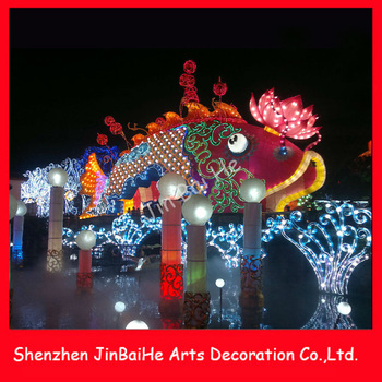 2016 New Year Big Lighting Fish Crafts Cloth Tradition Handiwork ...