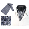 100% Silk Mens Gray Black Paisley Ascot For Sale