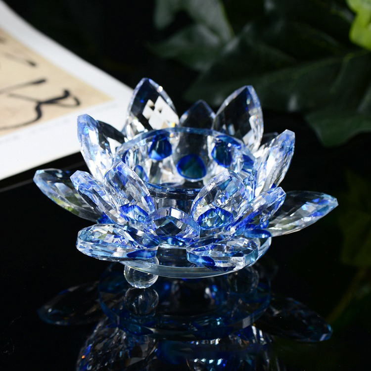 Wholesale clear glass crystal lotus flower shaped crystal glass flowers candle holder