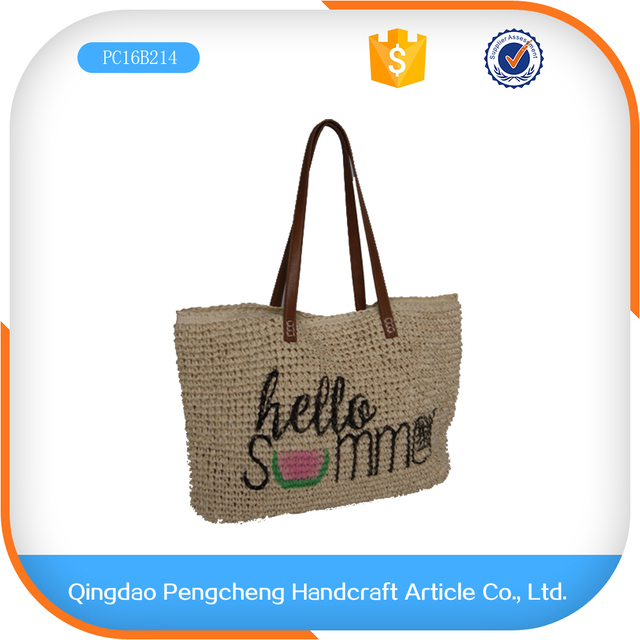 da9da89e04 recycle cheap printed cotton hand paper straw shopping bag
