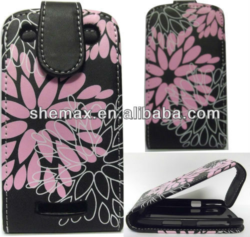 Floral Flower printing Leather Flip Case Cover Pouch for Blackberry 9360 Curve