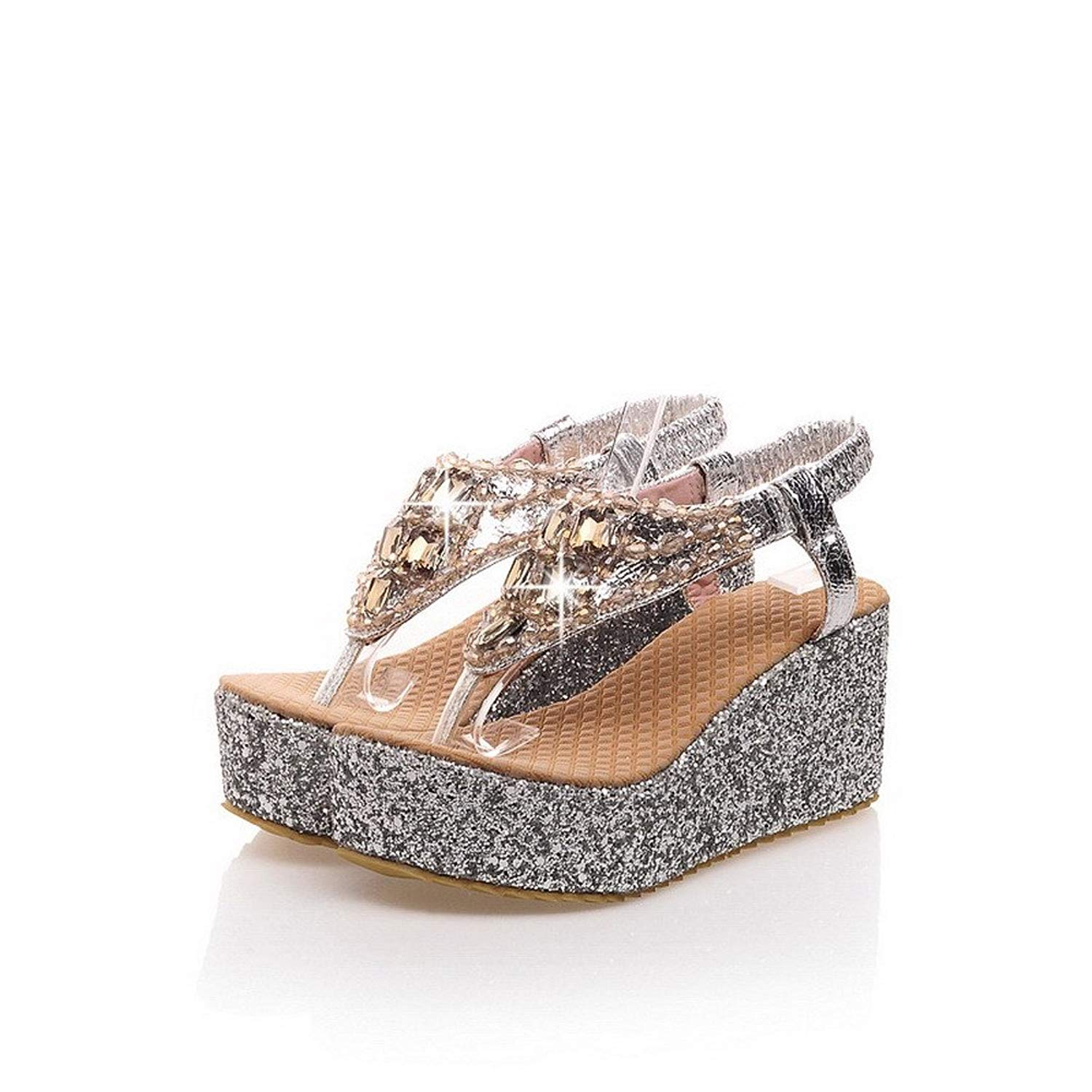 e615472a37d1c9 Get Quotations · WeenFashion Womans Thong Open Toe Kitten Heels Wedge PU  Soft Material Solid Sandals with Glass Diamond