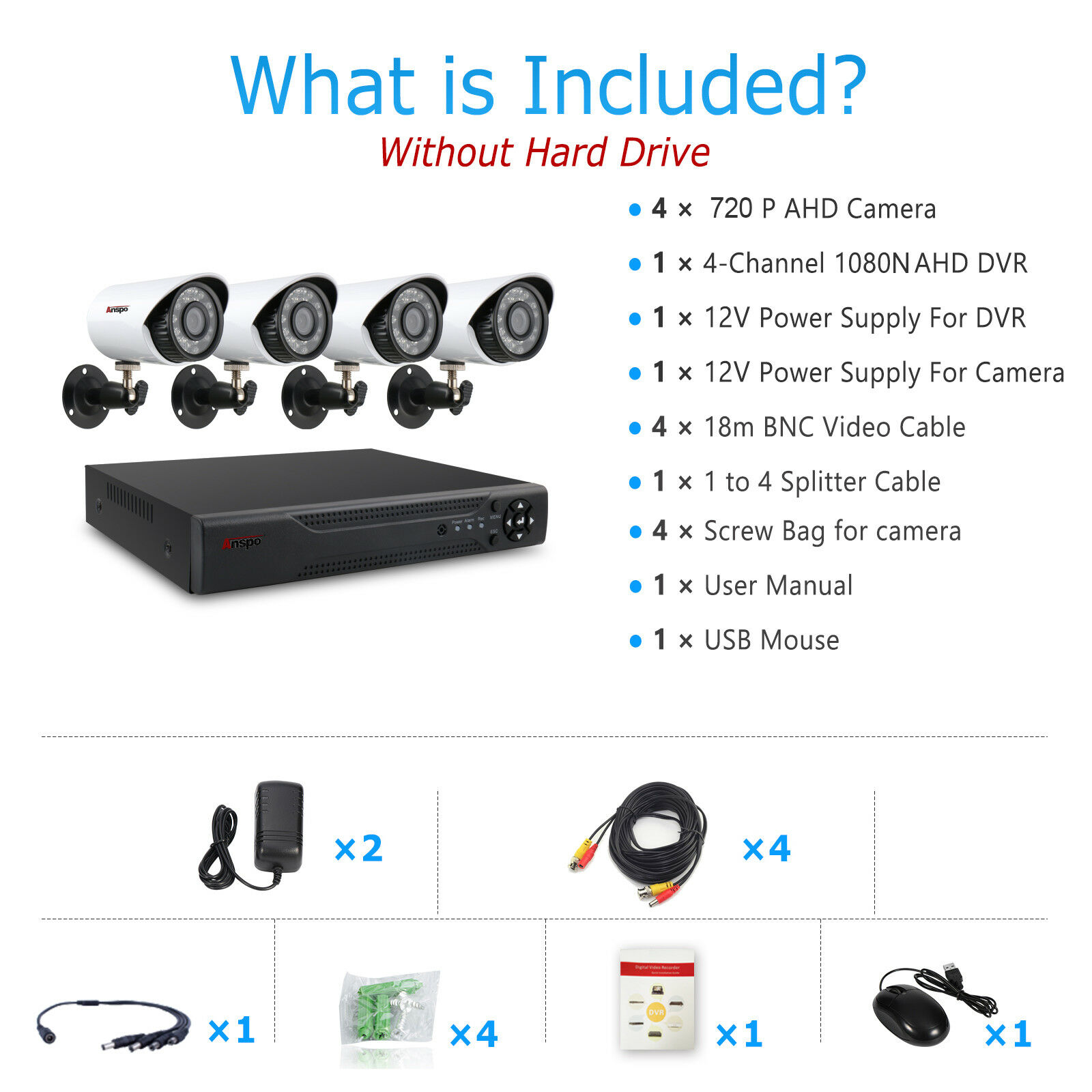 Camera AHD 1.3MP 960P Waterproof 4 Channel DVR Surveillance System Kit