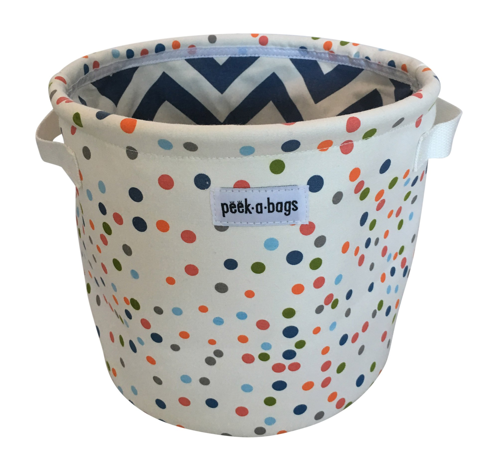 Peek-a-Bags Canvas Toy Storage Bin Perfect for Books, Small Stuffed Animals, Nursery storage organization & Organization of Playrooms, Shelves, Kid's rooms & Closets. (Multi-colored Dots)