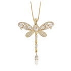 00729 xuping copper alloy costume insect dragonfly necklace, kolye ucu