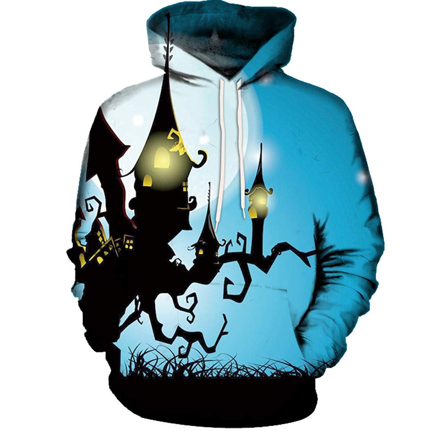 Zainafacai Fashion Print Hoodie- Unisex Realistic 3D Digital Hooded Top Sweatshirt-Happy Halloween 2018/2019