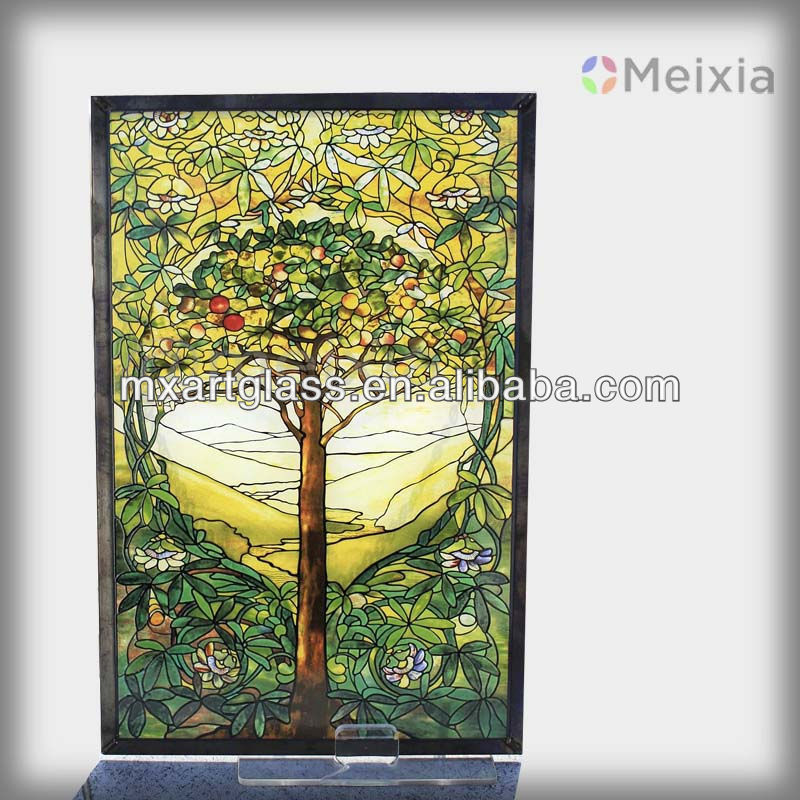 Meyda Tiffany Arched Tree Of Life Stained Gl Window
