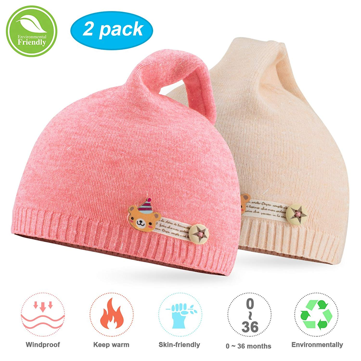69bb9f3c090aa Get Quotations · NIOFEI Baby Winter Beanie Hats For Unisex Baby Boys Girls  Soft Cotton Cute Toddler Infant Kids