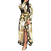 New Print V Neck Slit Side Maxi Dress Long Sleeve Ladies