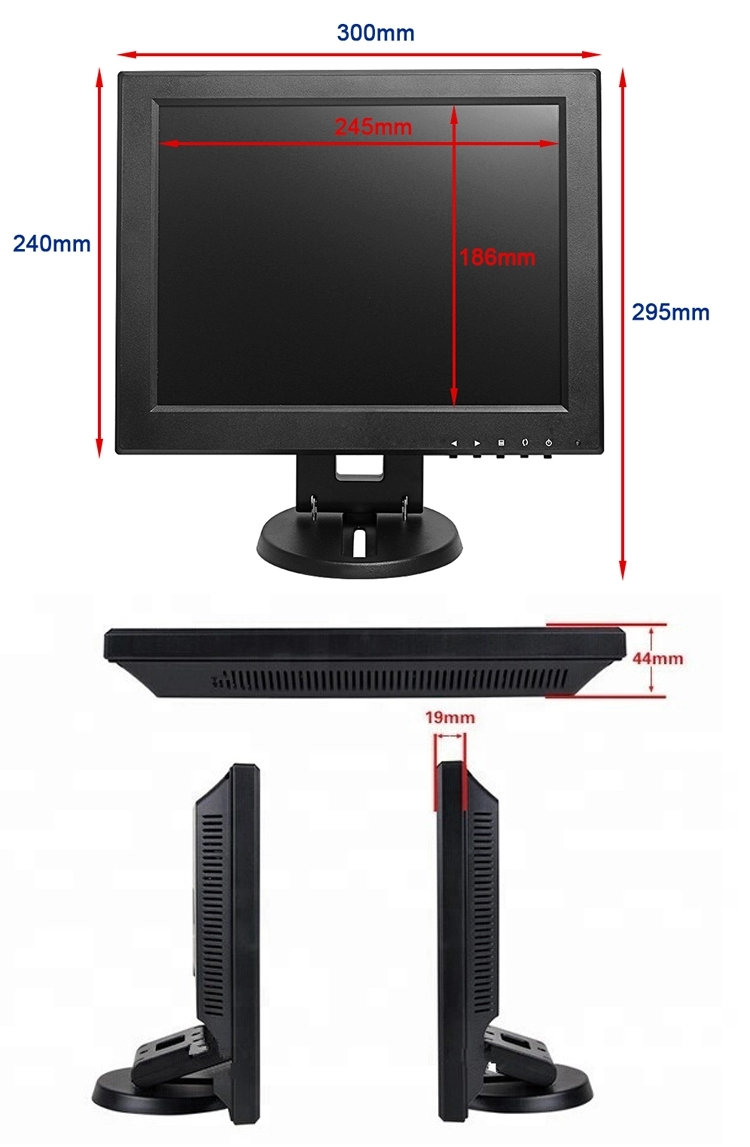 1024x768 high resolution LED backlight 12 inch square screen LED PC POS monitor