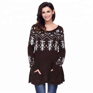 Women Christmas Sweater Dress.Jacquard Knit Pattern Women Xmas Christmas Sweater